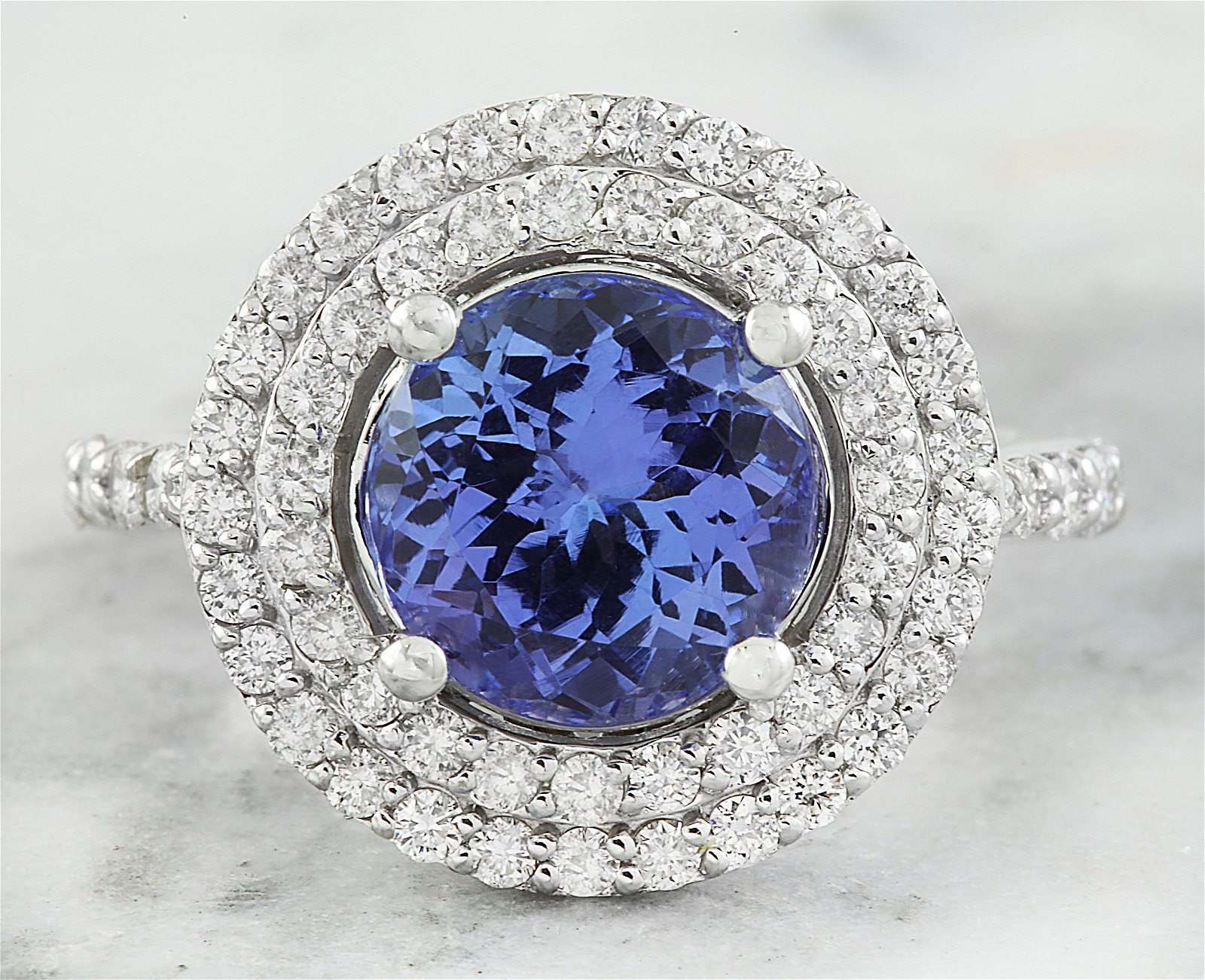 4.32 CTW Tanzanite 18K White Gold Diamond Ring