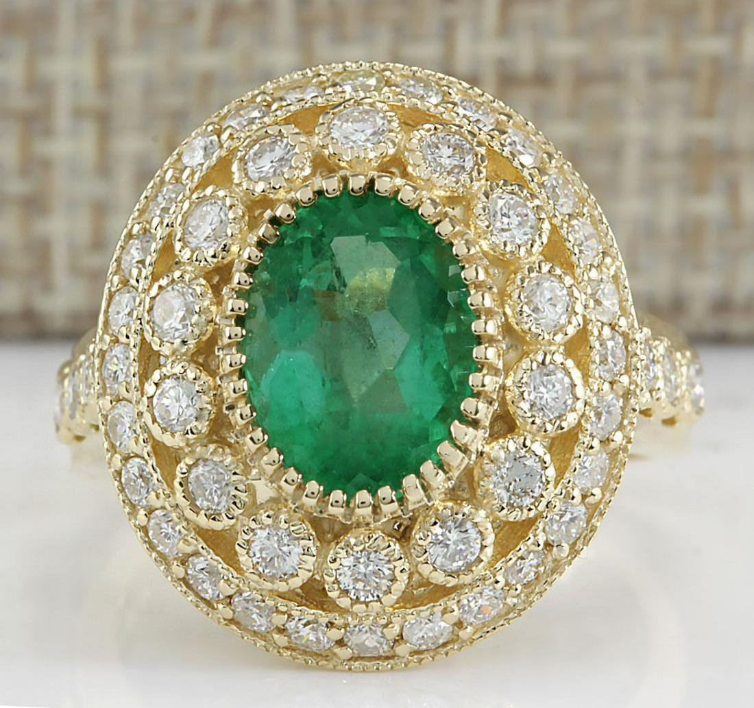 3.16 CTW Natural Colombian Emerald And Diamond Ring In