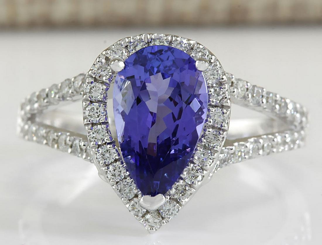 2.80 CTW Natural Blue Tanzanite And Diamond Ring 18K