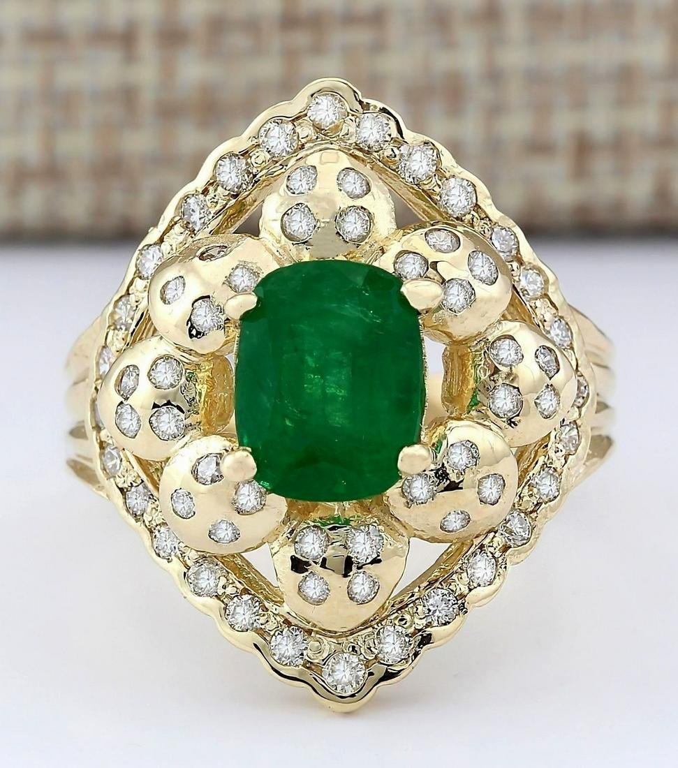 3.12 CTW Natural Emerald And Diamond Ring In 14k Yellow