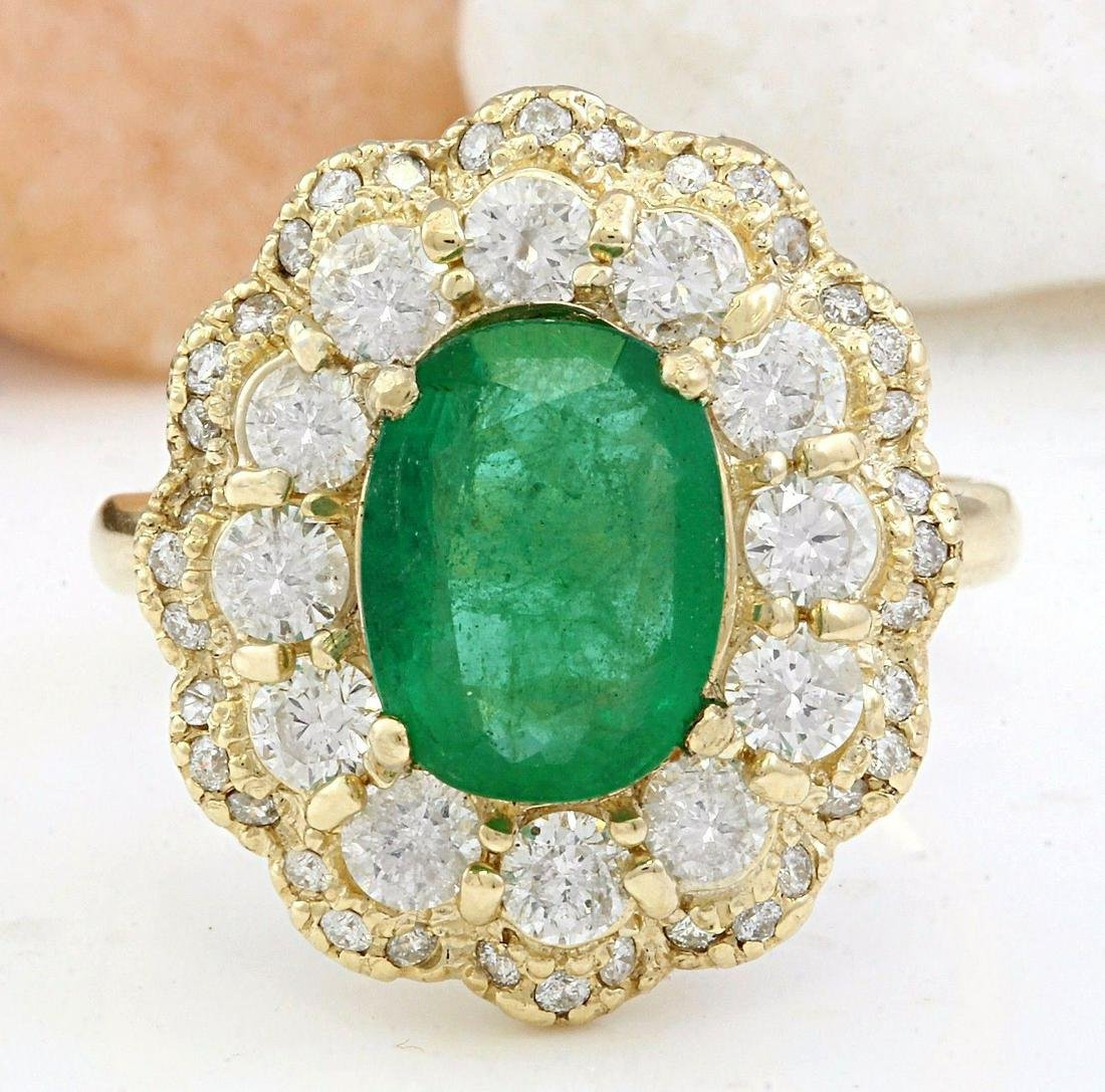 4.48 CTW Natural Emerald 18K Solid Yellow Gold Diamond