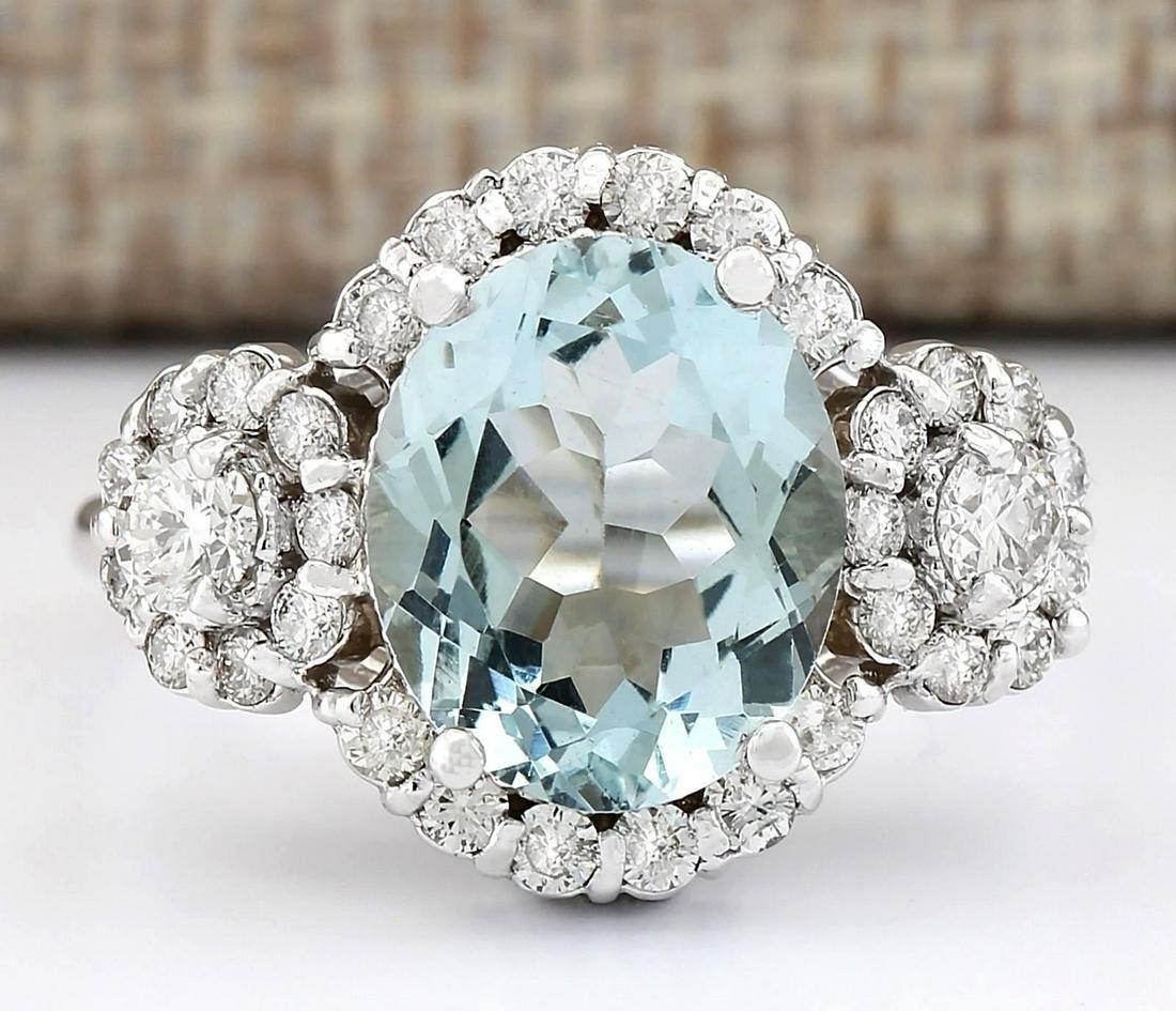 3.92 CTW Natural Aquamarine And Diamond Ring In 18K