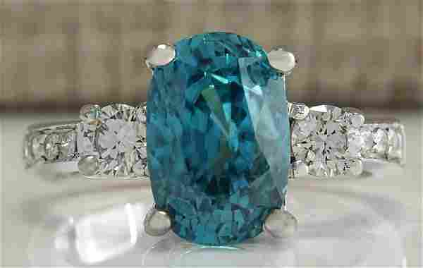 765 CTW Natural Blue Zircon And Diamond Ring 14k Solid