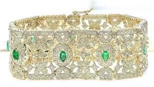 763 CTW Natural Emerald 18K Solid Yellow Gold Diamond