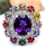 1210 CTW Natural Amethyst Sapphire 18K Solid White