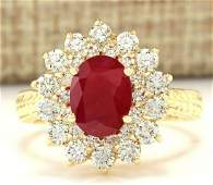 316 CTW Natural Ruby And Diamond Ring In 14k Yellow