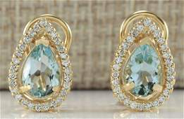 276 CTW Natural Aquamarine And Diamond Earrings 18K
