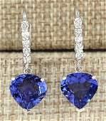 685 CTW Natural Tanzanite And Diamond Earrings 18K