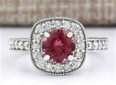 210 CTW Natural Pink Tourmaline And Diamond Ring 18K