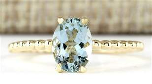 107 CTW Natural Aquamarine Ring In 18K Yellow Gold