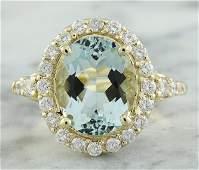381 CTW Aquamarine 14K Yellow Gold Diamond Ring