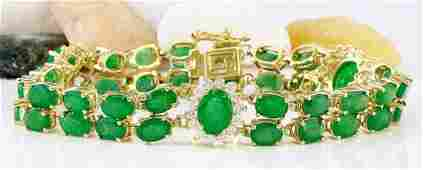 2070 CTW Natural Emerald 18K Solid Yellow Gold Diamond