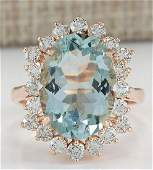 641 CTW Natural Aquamarine And Diamond Ring In 14K