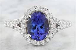 266 CTW Tanzanite 14K White Gold Diamond Ring