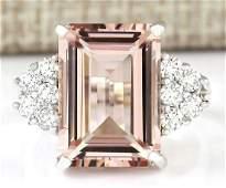 725 CTW Natural Morganite And Diamond Ring 14k Solid