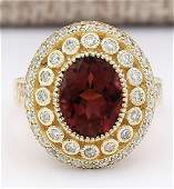 370 CTW Natural Pink Tourmaline And Diamond Ring 18K