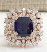 746 CTW Natural Blue Sapphire Diamond Ring 14K Solid