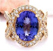 1062 CTW Natural Tanzanite 14K Solid Yellow Gold