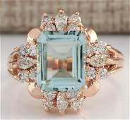 283 CTW Natural Blue Aquamarine Diamond Ring 18K Solid