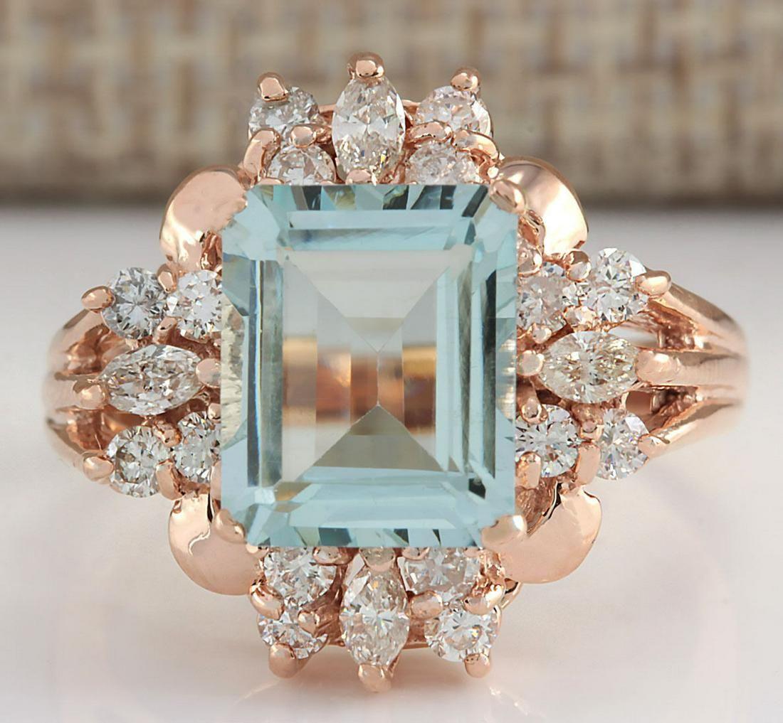2.83 CTW Natural Blue Aquamarine Diamond Ring 18K Solid