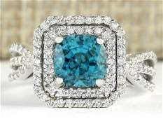 546 CTW Natural Blue Zircon And Diamond Ring 14k Solid
