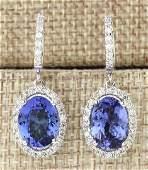 936 CTW Natural Tanzanite And Diamond Earrings 14k