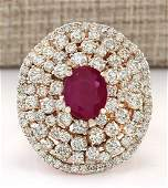 598 CTW Natural Ruby And Diamond Ring In 14k Rose Gold
