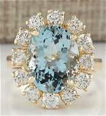671 CTW Natural Aquamarine And Diamond Ring 18K Solid