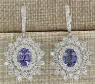 550 CTW Natural Tanzanite And Diamond Earrings 18K