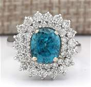 624 CTW Natural Blue Zircon And Diamond Ring 18K Solid