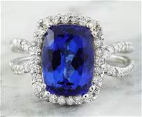 575 CTW Tanzanite 14K White Gold Diamond Ring