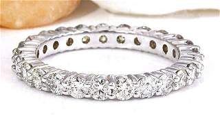 200 CTW Natural Diamond 14K Solid White Gold Ring