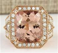 1234 CTW Natural Morganite And Diamond Ring In 14k