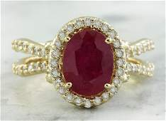 304 CTW Ruby 18K Yellow Gold Diamond Ring