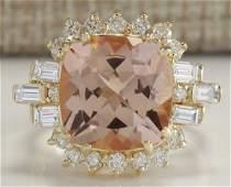 723 CTW Natural Morganite And Diamond Ring 18K Solid