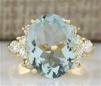 475 CTW Natural Aquamarine And Diamond Ring In 18K