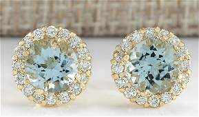 365 CTW Natural Aquamarine And Diamond Earrings 18K