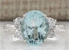 403 CTW Natural Blue Aquamarine Diamond Ring 18K Solid