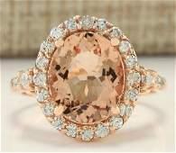 400 CTW Natural Morganite And Diamond Ring In 14K Rose