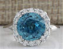 758 CTW Natural Blue Zircon And Diamond Ring 18K Solid