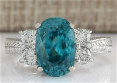 707 CTW Natural Blue Zircon And Diamond Ring 14K Solid