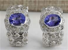 420 CTW Natural Tanzanite And Diamond Earrings 14K