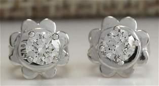 030CTW Natural Diamond Earrings 18K Solid White Gold