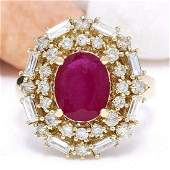 338 CTW Natural Ruby 18K Solid Yellow Gold Diamond