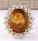 2847 CTW Natural Madeira Citrine And Diamond Ring 14k