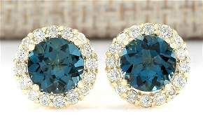 365 CTW Natural London Blue Topaz And Diamond Earrings