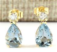 352 CTW Natural Aquamarine And Diamond Earrings 18K