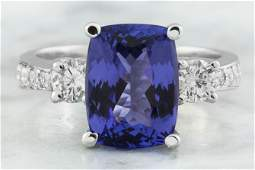 540 CTW Tanzanite 14K White Gold Diamond Ring