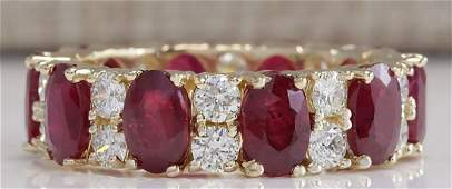 807 CTW Natural Red Ruby Diamond Ring 14K Solid Yellow