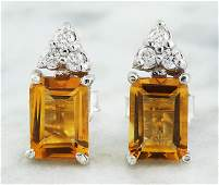 265 CTW Citrine 14k White Gold Diamond Earrings